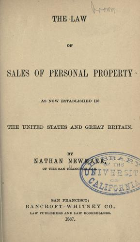 The law of sales of personal property by Nathan Newmark