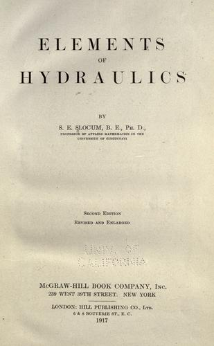 Elements of hydraulics by S. E. Slocum