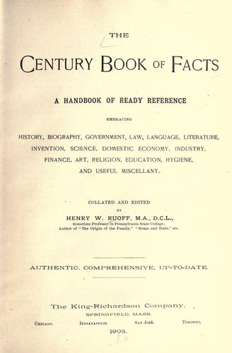 The century book of facts by Ruoff, Henry W.