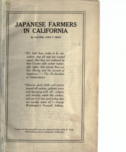 Japanese farmers in California by John P. Irish