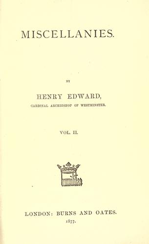 Miscellanies by Henry Edward Manning
