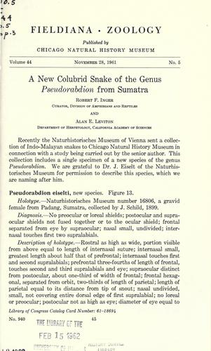 A new colubrid snake of the genus Pseudorabdion from Sumatra by Robert F. Inger