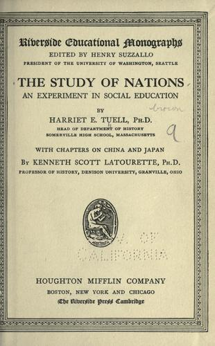 The study of nations by Harriet Emily Tuell