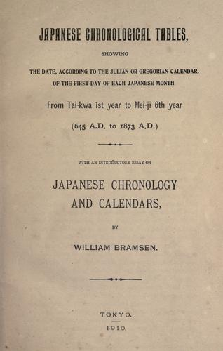 Japanese chronological Tables by William Bramsen