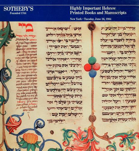 Highly important Hebrew books and manuscripts by Sotheby & Co. (London, England)