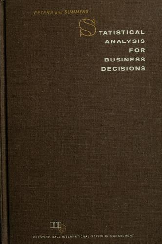 Statistical analysis for business decisions by William Stanley Peters