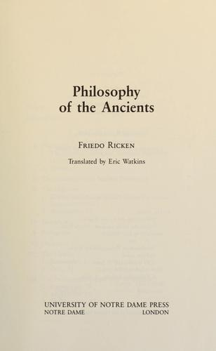 Philosophy of the ancients by Friedo Ricken