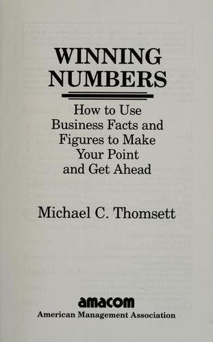 Winning numbers by Michael C. Thomsett